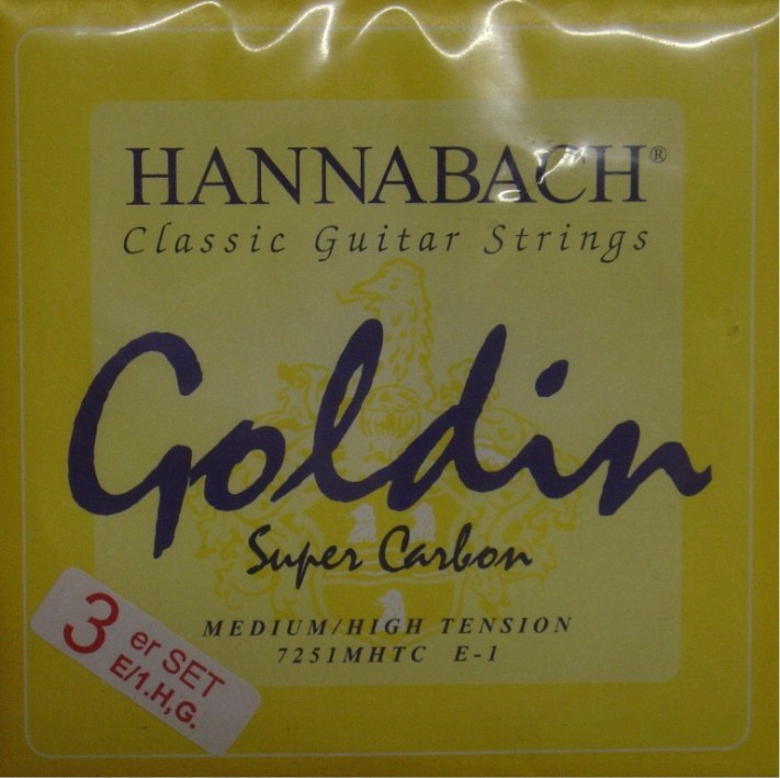 Hannabach 725 'Goldin' Diskantsatz Konzertgitarre, medium/high tension