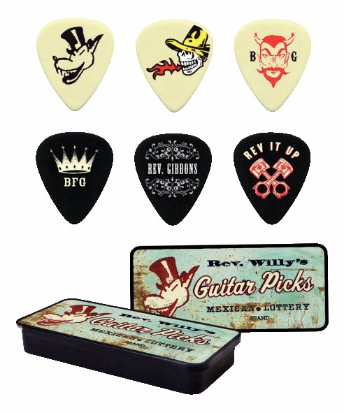Dunlop Rev. Willy Mexican Lottery Picks 6 Stück in Metalldose - heavy