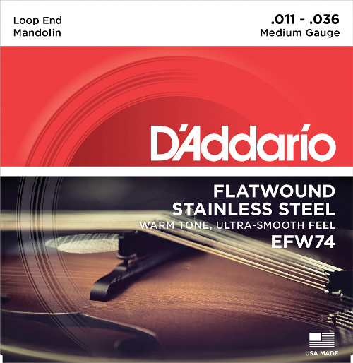 D´Addario EFW74 - flatwound Mandoline - medium