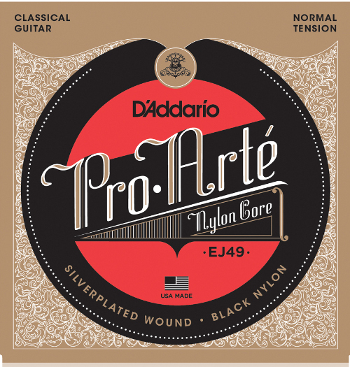 D´Addario EJ49 black Nylon Konzertgitarre, normal tension