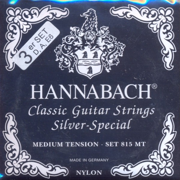 Hannabach 8157 schwarz 'silver special' - Bass-Satz Konzertgitarre, medium tension