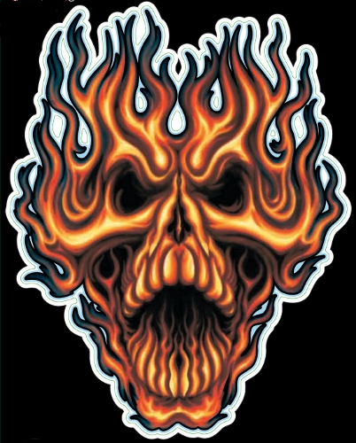 Guitar Tattoo - Planet Waves Flame Whip Skull - GT77013