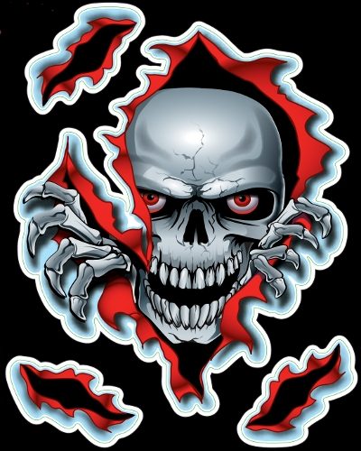 Guitar Tattoo - Planet Waves Peak a boo skull - GT77002