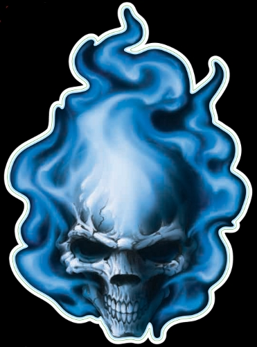 Guitar Tattoo - Planet Waves BLue Flame Skull - GT77011