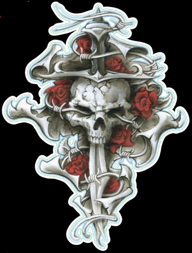 Guitar Tattoo - Planet Waves Dagger Rose Skull - GT77008